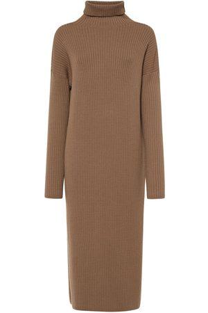 'S MAX MARA Stretch Wool Knit Turtleneck Midi Dress