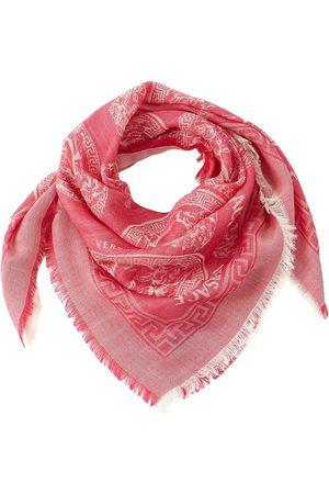 VERSACE All Over Print Wool & Silk Scarf