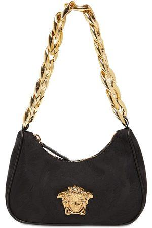 VERSACE Nylon Shoulder Bag W/ Medusa Appliqué