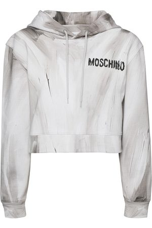 Moschino Logo Cotton Jersey Cropped Hoodie