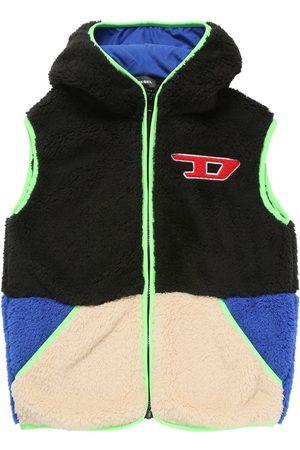 Diesel Logo Color Block Hooded Teddy Vest