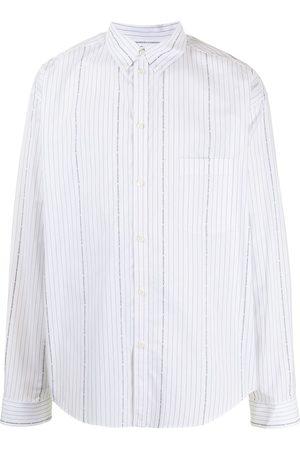Balenciaga Men Shirts - Logo-print pinstriped shirt
