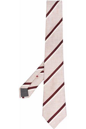Brunello Cucinelli Men Bow Ties - Striped silk tie - Neutrals