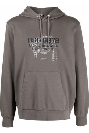 Diesel Slogan-print cotton hoodie - Grey