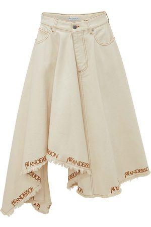 JW Anderson Logo-print asymmetric denim skirt