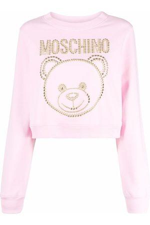 Moschino Studded Teddy cropped sweatshirt