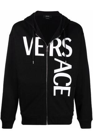 VERSACE Logo-print zip-up hoodie