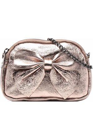 MONNALISA Metallic-bow leather bag