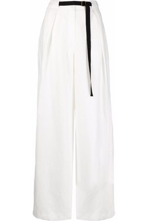 12 STOREEZ Contrast-belt linen trousers