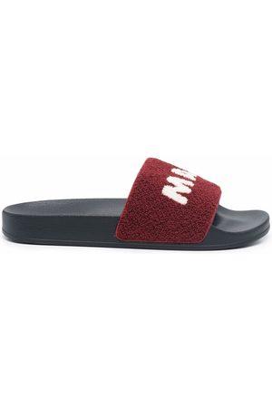 Marni Men Sandals - Logo-print textured slides
