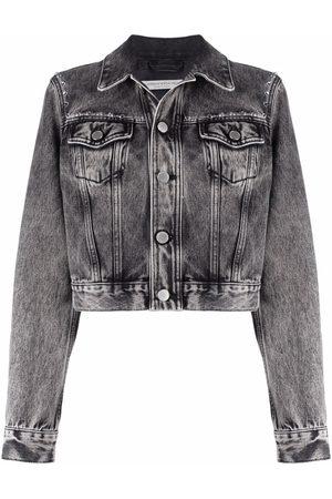 Alessandra Rich Women Denim Jackets - Stud-trimmed faded denim jacket - Grey
