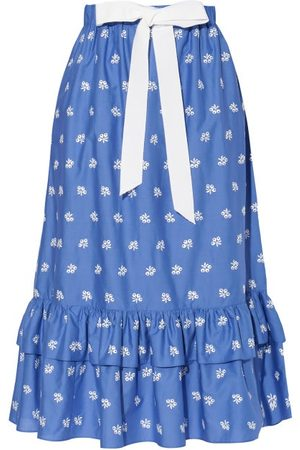 Erdem Women Skirts - Corsica Embroidered Cotton-blend Poplin Skirt - Womens