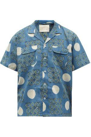 HARAGO Block-printed Cotton Short-sleeved Shirt - Mens - Multi