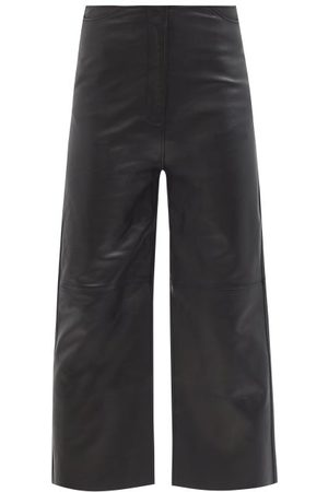 Totême Cropped Wide-leg Leather Trousers - Womens