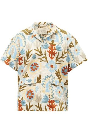 Harago Short-sleeved Leaf-appliqué Cotton-canvas Shirt - Mens