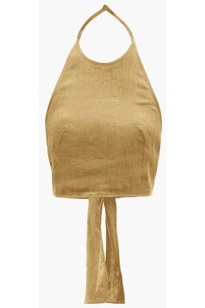 Three Graces London Savannah Tie-back Halterneck Linen Top - Womens - Khaki