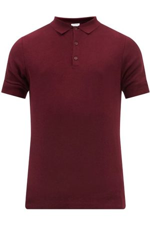 Sunspel Knitted-cotton Polo Shirt - Mens - Burgundy