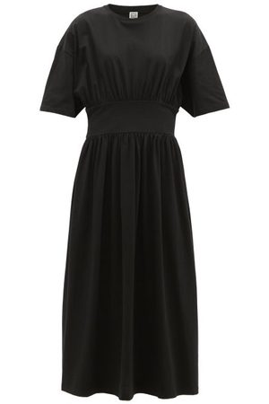 Totême Women Casual Dresses - Gathered-waist Organic-cotton Jersey Midi Dress - Womens