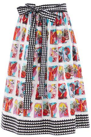 Mary Mare Paloma Postcard-print Cotton-blend Poplin Skirt - Womens - Multi