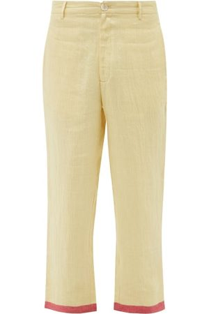 HARAGO Striped-pocket Linen Cropped Trousers - Mens - Multi