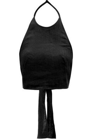 Three Graces London Savannah Tie-back Halterneck Linen Top - Womens