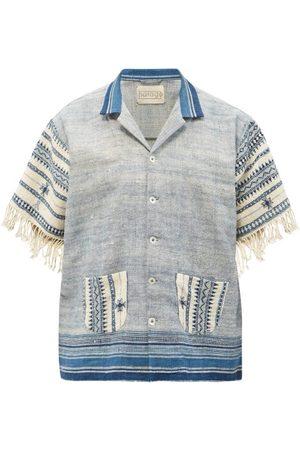 Harago Striped Short-sleeved Cotton-khadi Shirt - Mens - Multi