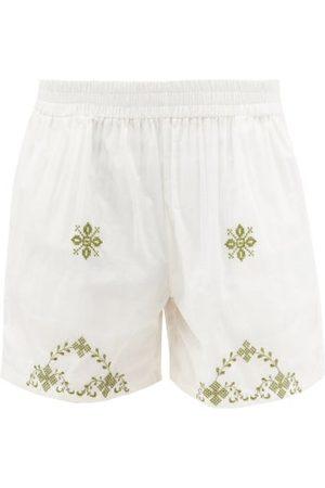 Harago Shaku Cross-stitched Upcycled Cotton-khadi Shorts - Mens