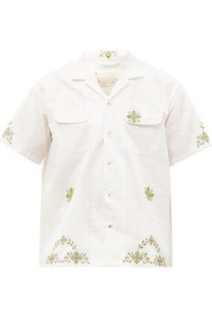 HARAGO Shaku Cross-stitched Cotton Short-sleeved Shirt - Mens