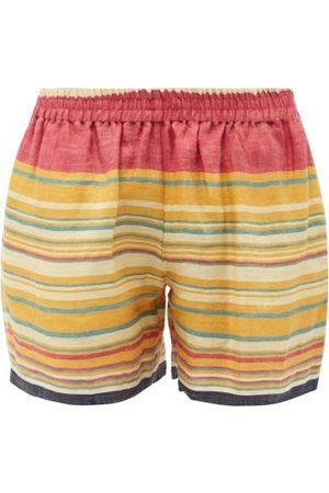 HARAGO Men Shorts - Handwoven Jacquard-stripe Linen-twill Shorts - Mens - Multi