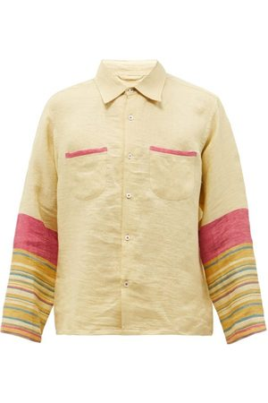 Harago Striped-sleeve Linen Shirt - Mens - Multi