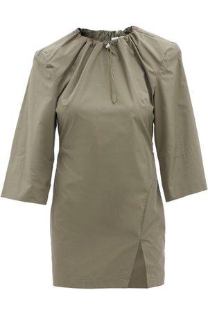 The Attico Drawstring-neck Cotton-poplin Mini Dress - Womens - Khaki