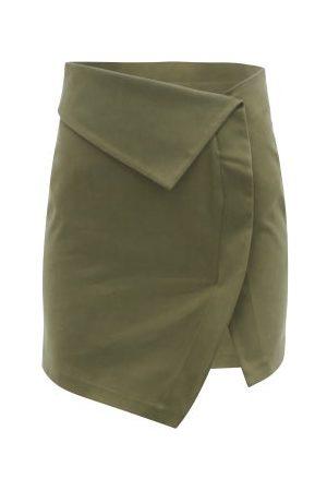 The Attico Foldover-waist Cotton-blend Twill Mini Skirt - Womens - Khaki