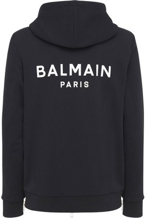 Balmain Logo Print Cotton Jersey Zip Hoodie