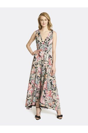 Tahari ASL Women Printed Dresses - Paisley Tie-Shoulder Maxi Dress Paisley Floral Size: 10
