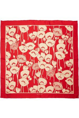Gucci Poppy Flowers Print Silk Scarf