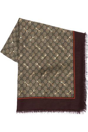 Gucci Gg Print Modal & Silk Shawl W/ Horsebit