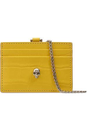 Alexander McQueen Women Wallets - Skull Leather Card Holder W/chain