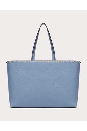 VALENTINO GARAVANI Women Tote Bags - Rockstud Grainy Calfskin Tote Bag Women Azure 100% Pelle Di Vitello - Bos Taurus OneSize