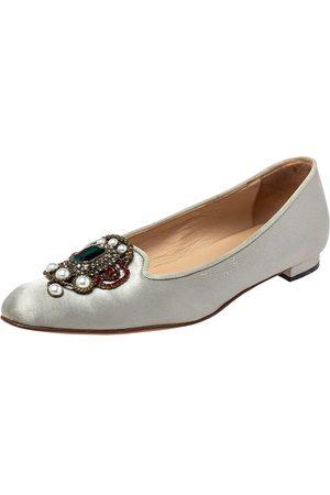 Manolo Blahnik Grey Satin Eufrasia Smoking Slippers Size 35