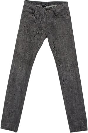 Dior Homme Grey Patterned Denim Tapered Leg Jeans S