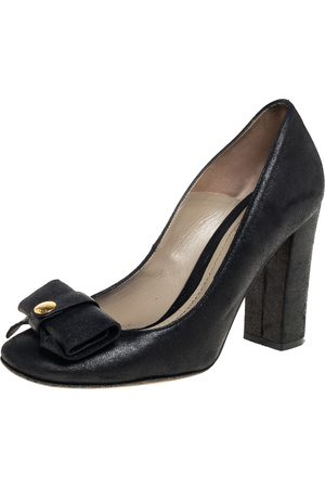 Etro Nubuck Leather Bow Block Heel Pumps Size 37