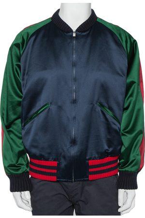 Gucci Silk Satin Panther Applique Detail Bomber Jacket XXL