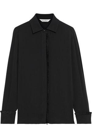 Max Mara Women Long sleeves - Woman Mogador Frayed Silk-crepe Shirt Size 40