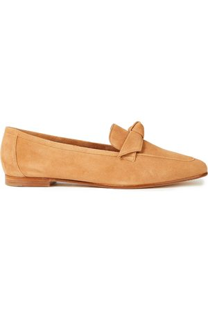 ALEXANDRE BIRMAN Woman Becky Knotted Suede Loafers Camel Size 40