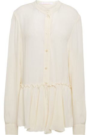 See by Chloé See By Chloé Woman Crepe De Chine Peplum Shirt Ivory Size 42