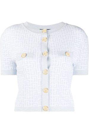 Balmain Women Cardigans - Glitter monogram buttoned cardigan