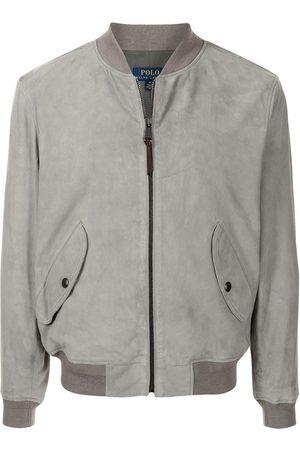 Polo Ralph Lauren Men Leather Jackets - Gunners zip-up suede bomber jacket - Grey