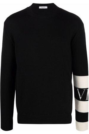 VALENTINO Men Sweatshirts - Stripe-detail wool jumper