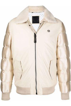 Philipp Plein Men Puffer Jackets - Metallic padded jacket - Neutrals