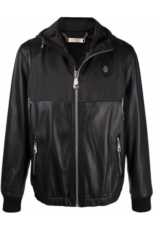 Philipp Plein Leather panelled jacket